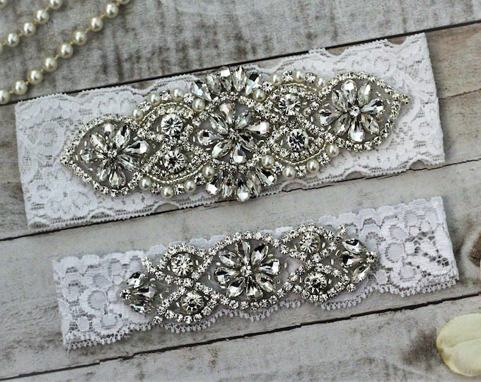 White Wedding Garter Set NO SLIP grip vintage rhinestones, pearl and rhinestone garter set B01S-C02S