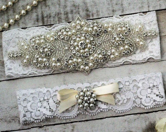 White Pearl Bridal Garter Set NO SLIP grip, pearl and rhinestone garter set, WHITE B08S-C32