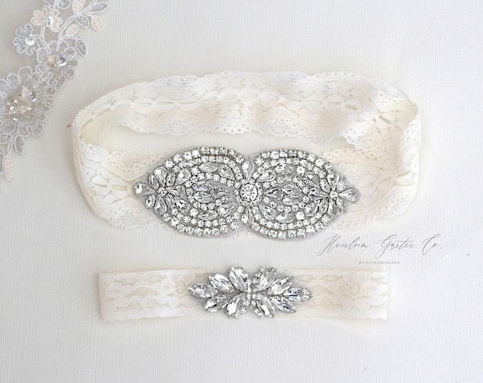 Wedding Garter, NO SLIP Lace Wedding Garter Set, bridal garter set, vintage rhinestones B44S-C21
