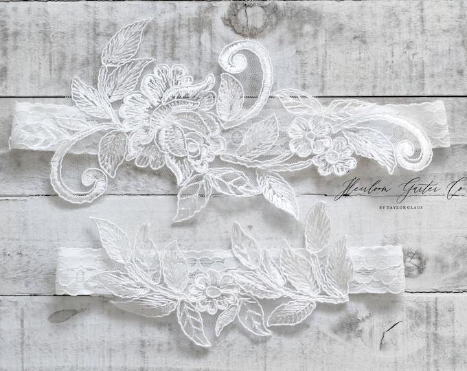 Lace Wedding Garter Set, NO SLIP grip bridal garters floral garter set WHITE C36-C36