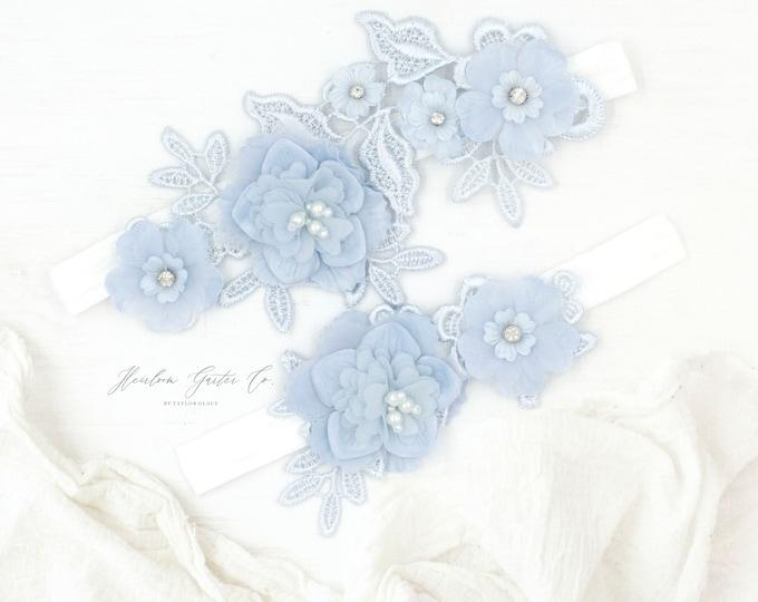 Something Blue Wedding Garter, Lace Wedding Garter Set, something blue lace garter E81