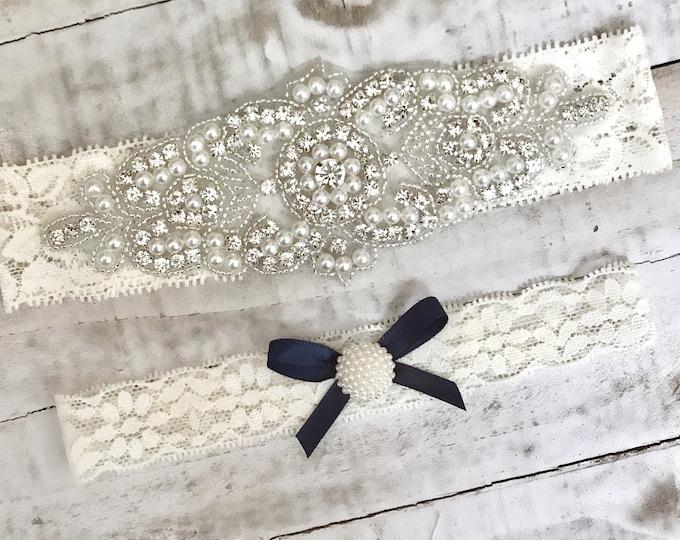 Ivory bridal garter Set NO SLIP grip, IVORY B08S-C30