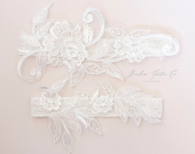 Lace Wedding Garter Set, NO SLIP grip bridal garters floral garter set WHITE C36-C36