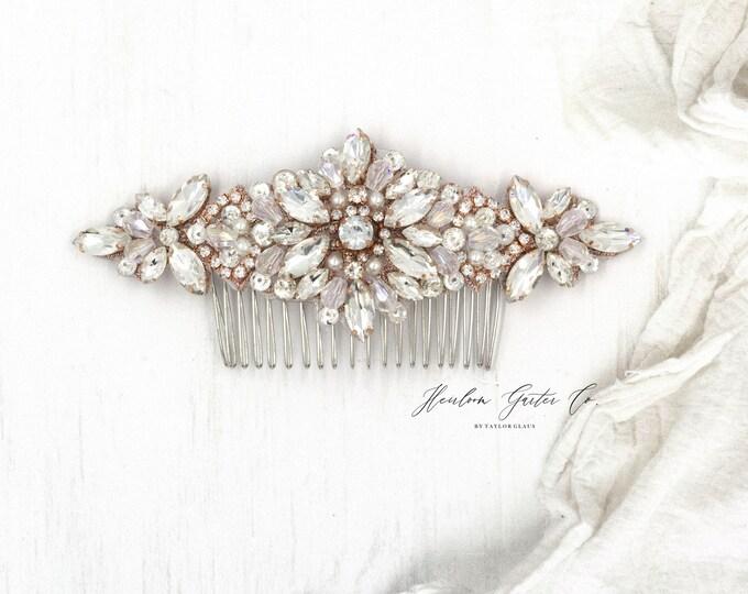 Rose gold Wedding Hair Comb, Pearl and Rhinestone, Bridal Headpiece, Rhinestone Hairpiece, Hair Tiara, Hair Jewelry, Bridesmaid, Hair 79RG