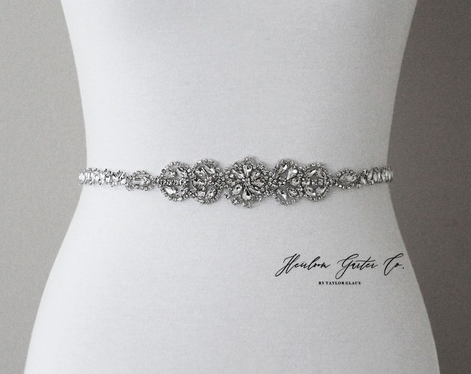 Bridal Belt, Silver crystal Bridal Belt, Bridal Sash, Wedding Belt, Wedding Sash Rhinestone prom belt B113S