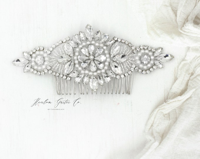 Wedding Hair Comb, Pearl and Rhinestone, Bridal Headpiece, Rhinestone Hairpiece, Hair Tiara, Hair Jewelry, Bridesmaid, Hair comb 11S