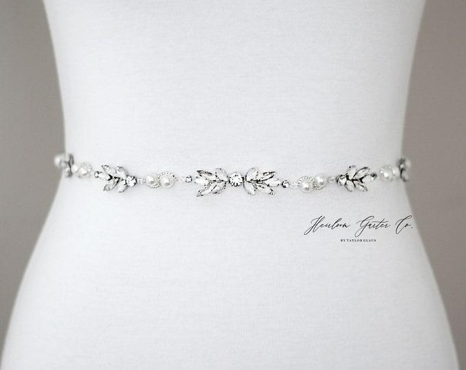 Dainty Opal Bridal Belt, Prom Belt, Rhinestone Bridal Sash, Beaded Bridal Sash, Wedding Belt, Wedding Sash Rhinestone Sash B96