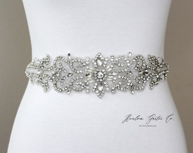 Bridal Belt, Bridal Sash, Beaded Bridal Sash, Wedding Belt, Wedding Sash Rhinestone Sash B54S