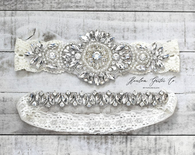Wedding Garter, NO SLIP Lace Wedding Garter Set, bridal garter set, vintage rhinestones B56S-DB13S
