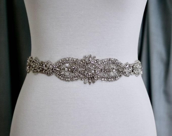 Silver crystal Bridal Belt, Bridal Sash, Wedding Belt, Wedding Sash Rhinestone prom belt, B32