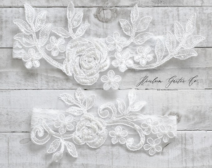 Lace Wedding Garter Set, NO SLIP grip bridal garters floral garter set WHITE C66-C66