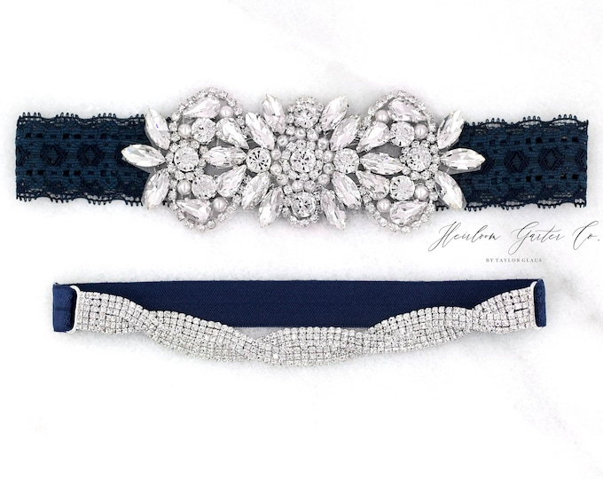 Navy Wedding Garter, NO SLIP Lace Wedding Garter Set, Blue bridal garter set, pearl and rhinestone garter set, D26-E17s