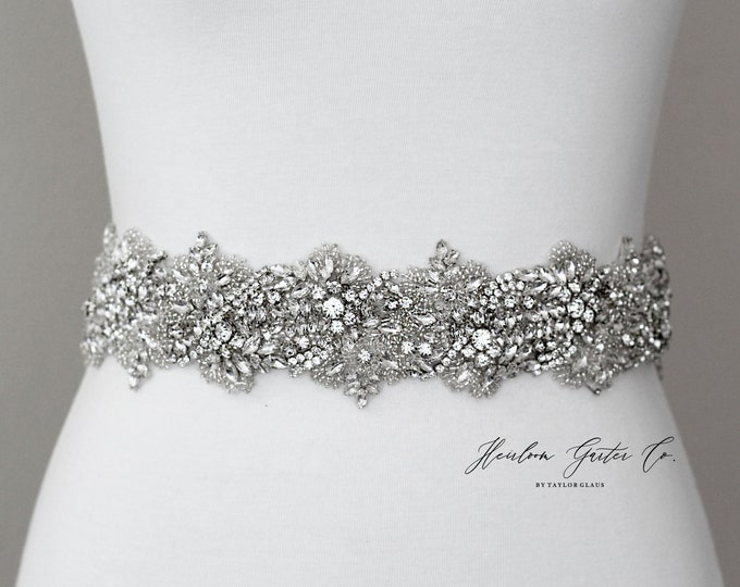 Floral Bridal Belt, Prom Belt, Rhinestone Bridal Sash, Beaded Bridal Sash, Wedding Belt, Wedding Sash Rhinestone Sash B91S