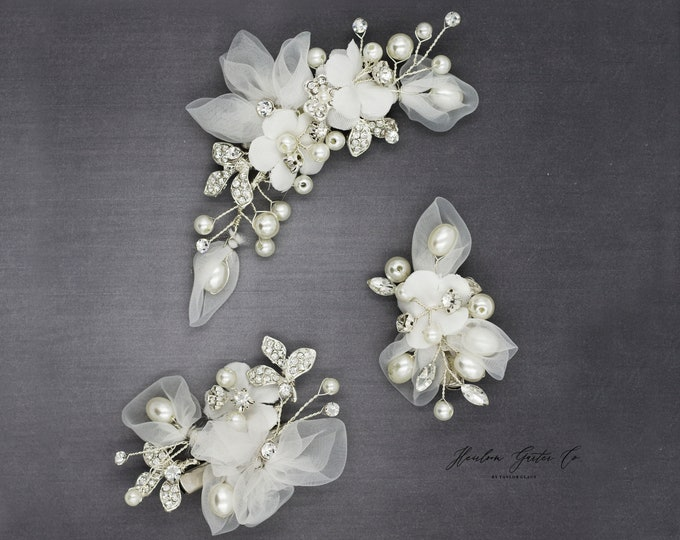 Wedding Hair Accessories Set, floral hairpieces, bridal pearl hair clips, H03