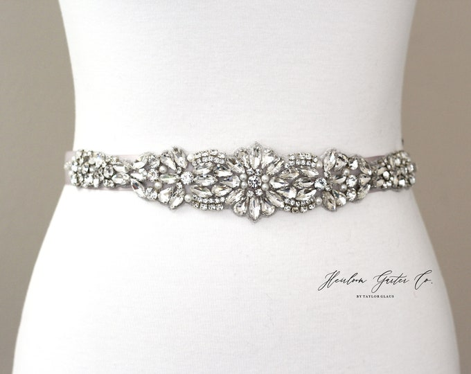Bridal Belt, Bridal Sash, Beaded Bridal Sash, Wedding Belt, Wedding Sash Rhinestone Sash B52S