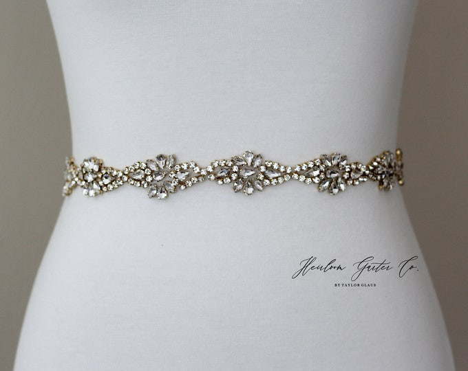 Gold Bridal Belt, Prom Belt, Rhinestone Bridal Sash, Beaded Bridal Sash, Wedding Belt, Wedding Sash Rhinestone Sash B88G