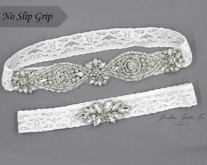 Wedding Garter, White Wedding Garter Set, NO SLIP grip Lace Wedding Garter Set, bridal garter set WHITE C45S-C21
