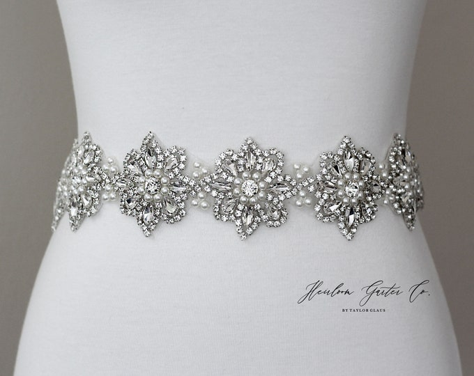 Floral Bridal Belt, Prom Belt, Rhinestone Bridal Sash, Beaded Bridal Sash, Wedding Belt, Wedding Sash Rhinestone Sash B90S