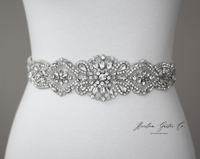 Silver crystal Bridal Belt, Bridal Sash, Wedding Belt, Wedding Sash Rhinestone prom belt B34