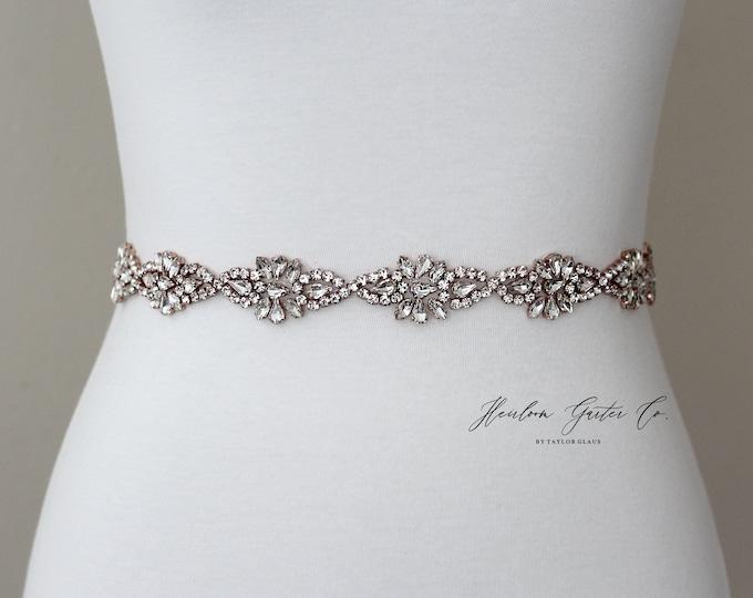 Rose Gold Bridal Belt, Prom Belt, Rhinestone Bridal Sash, Beaded Bridal Sash, Wedding Belt, Wedding Sash Rhinestone Sash B88RG