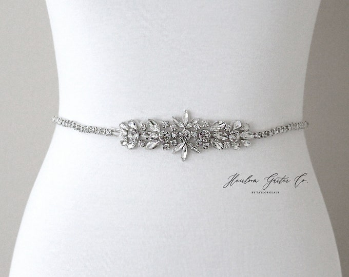 Bridal Belt, Silver crystal Bridal Belt, Bridal Sash, Wedding Belt, Wedding Sash Rhinestone prom belt B97