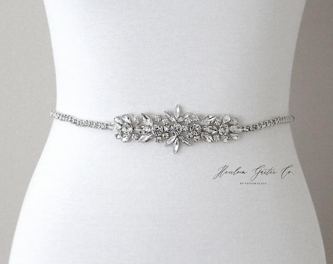 Bridal Belt, Silver crystal Bridal Belt, Bridal Sash, Wedding Belt, Wedding Sash Rhinestone prom belt B97