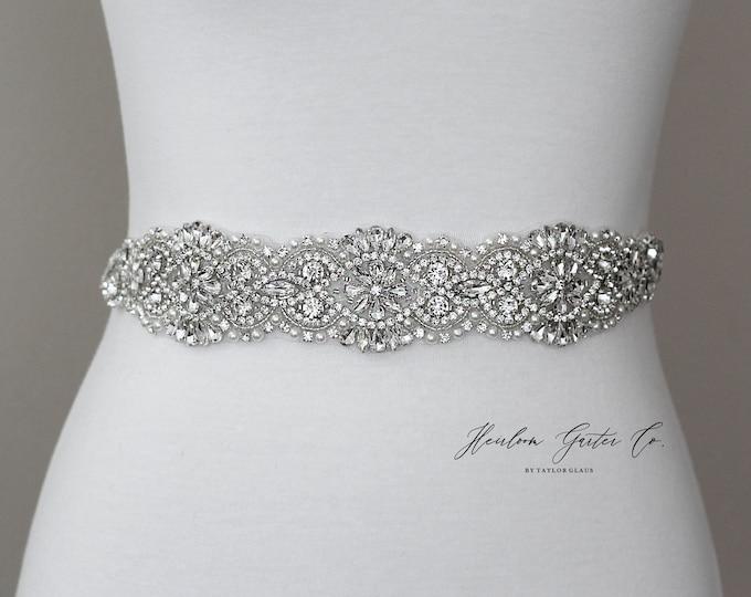 Rhinestone Bridal Belt, Bridal Sash, Beaded Bridal Sash, Wedding Belt, Wedding Sash Rhinestone Sash B89S
