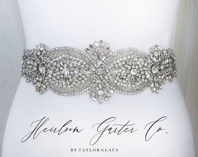 Bridal Belt, Crystal Rhinestone Bridal Sash, Wedding Belt, Wedding Sash Rhinestone and Pearl Sash B33