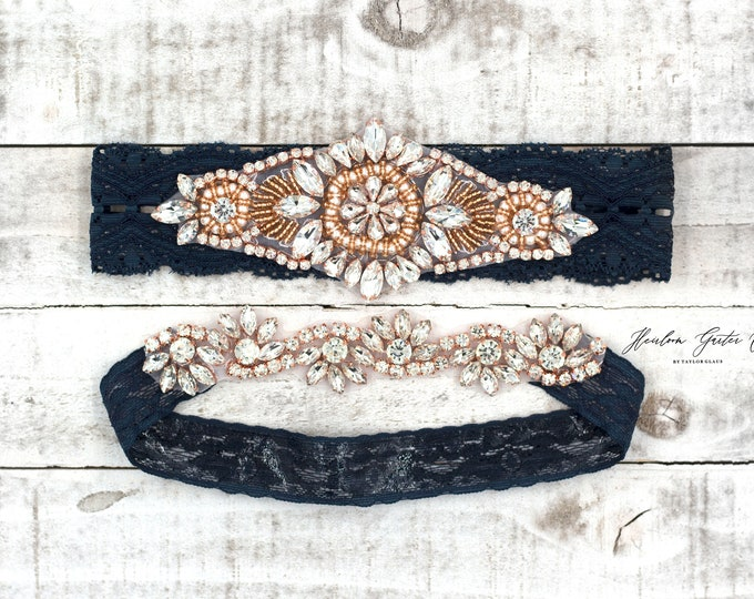 Rose gold Bridal Garter, navy garter, NO SLIP Lace Wedding Garter Set, bridal garter set, vintage something blue Navy B11RG-CB05RG