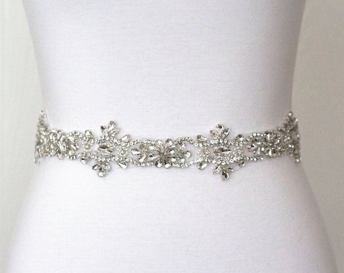 Wedding Dress Belt, Bridal Sash, Wedding Belt, Wedding Sash Rhinestone and Pearl Sash, B40