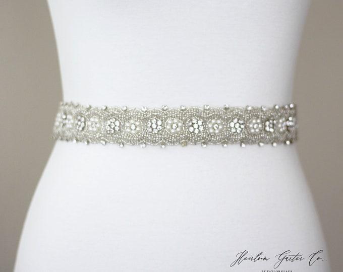 Bridal Belt, Floral Rhinestone Bridal Sash, Beaded Bridal Sash, Wedding Belt, Wedding Sash Rhinestone Sash B71S