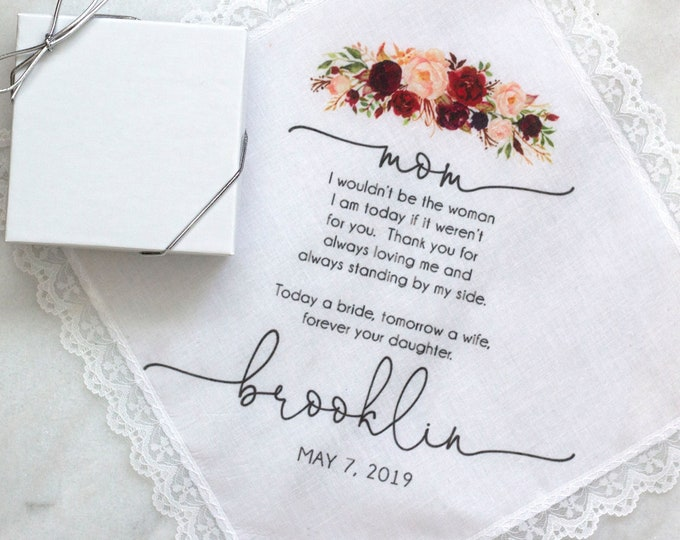 Custom wedding handkerchief, custom handkerchief, mother of the bride gift, custom printed wedding handkerchief PRINTED style 001