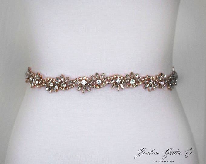 Rose Gold Bridal Sash - The Perfect Rose Gold Wedding Belt, B05RG
