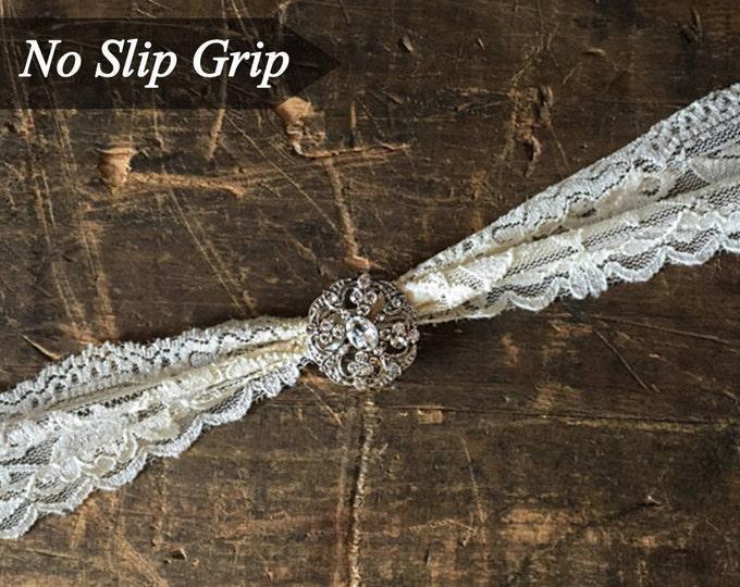 Ivory Wedding Garter NO SLIP grip vintage rhinestones A19