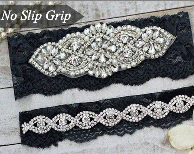 Navy Wedding Garter Set NO SLIP grip, Something Blue, NAVY A01S-A*B19S
