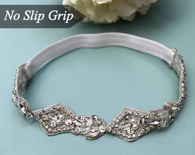 Crystal Wedding Garter NO SLIP grip vintage rhinestones, custom garter, simple garter, rhinestone garter EB12