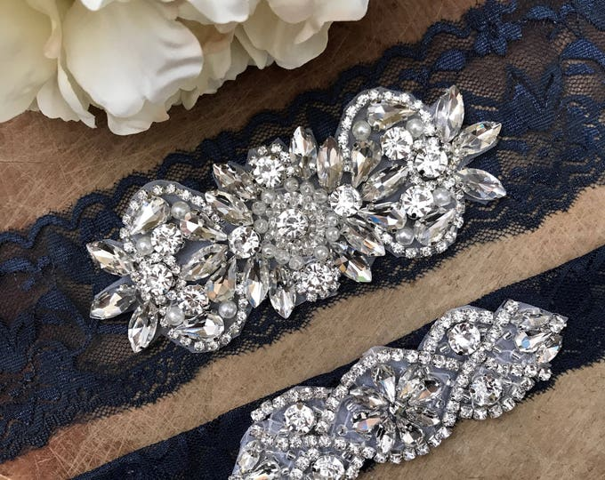 Navy Wedding Garter Set NO SLIP grip vintage rhinestones, pearl and rhinestone garter set, Something Blue NAVY A26-A*02S