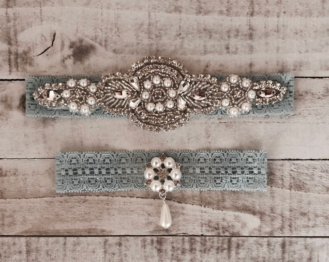 Something Blue Bridal Garter, pearl NO SLIP Lace Wedding Garter Set, bridal garter set, pearl and rhinestone garter set D06S - D46