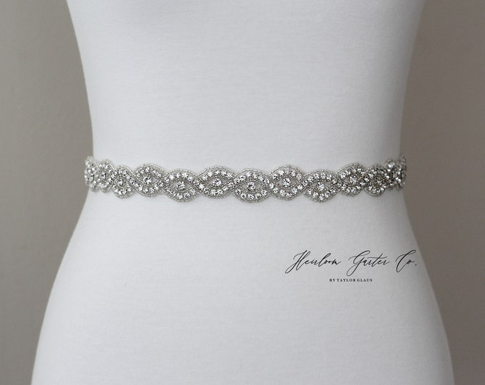 Dainty Bridal Belt, Rhinestone Bridal Sash, Beaded Bridal Sash, Wedding Belt, Wedding Sash Rhinestone Sash B83S