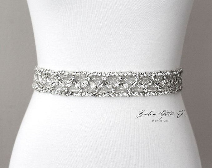 Bridal Belt, Art Deco Rhinestone Bridal Sash, Beaded Bridal Sash, Wedding Belt, Wedding Sash Rhinestone Sash B85S