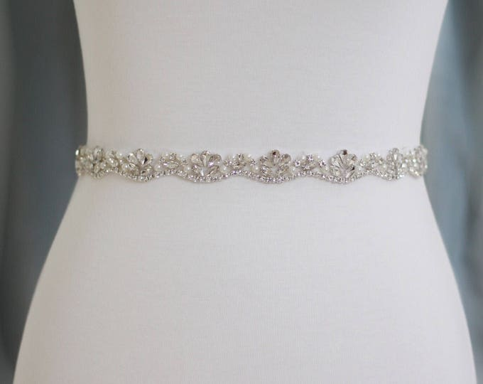 Rhinestone Wedding Belt - The Perfect Wedding Dress Belt or Formal Gown Belt B06S
