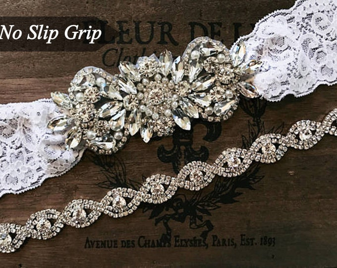 Bridal garter set, Wedding Garter Set NO SLIP grip vintage rhinestones WHITE B26-EB19S