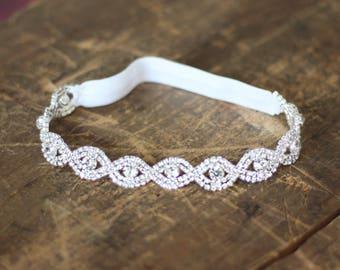 aa0fe1327 Crystal Wedding Garter NO SLIP grip vintage rhinestones
