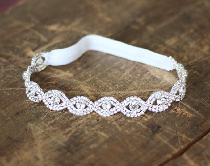 Crystal Wedding Garter NO SLIP grip vintage rhinestones, custom garter, simple garter, rhinestone garter EB19S