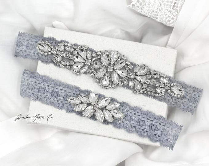 Wedding Garter, NO SLIP Lace Wedding Garter Set, Something Blue bridal garter set, vintage rhinestones D20-D21