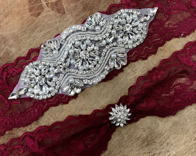 Burgundy Red Wedding Garter Set NO SLIP grip vintage rhinestones A05S-A29