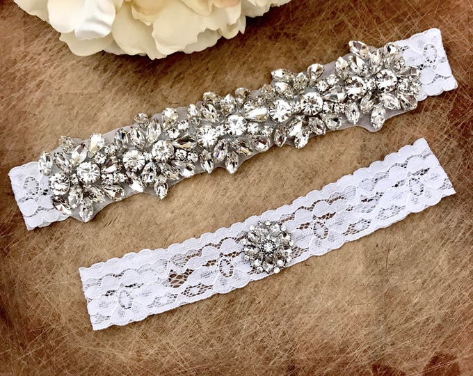 Wedding Garter set, NO SLIP grip Lace Wedding Garter Set, bridal garter set, vintage rhinestones, pearl and rhinestone garter CB04S-C29