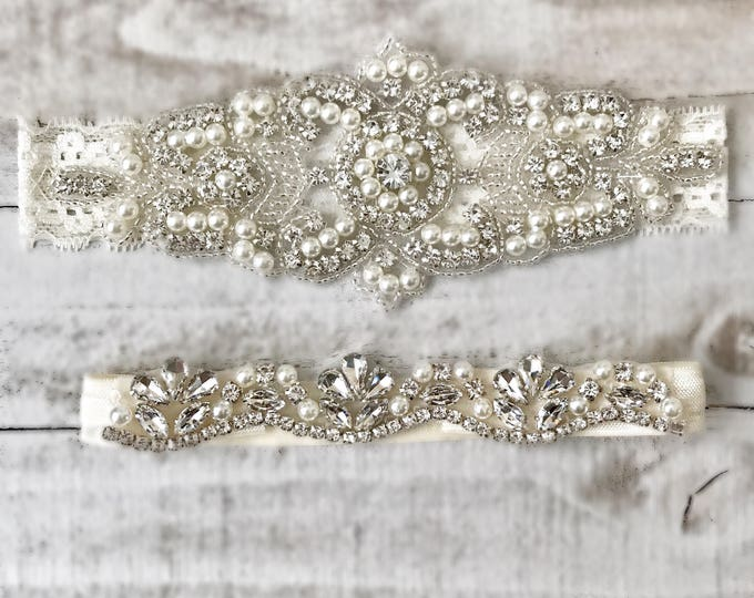 Elegent antique ivory Wedding Garter Set NO SLIP grip vintage rhinestones bridal garter B08S-EB06S