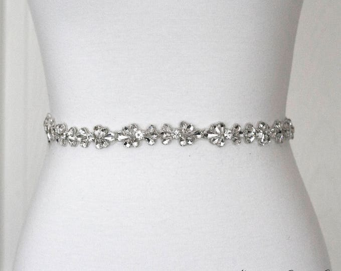 Dainty Rhinestone Belt, Crystal Bridal Belt, Bridal Sash, Wedding Belt, Wedding Sash Rhinestone Sash B08