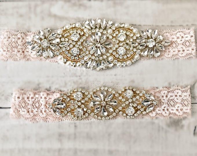Blush Bridal Garter, NO SLIP Lace Wedding Garter Set, bridal garter set, pearl and rhinestone garter set BLUSH D01G-D02G